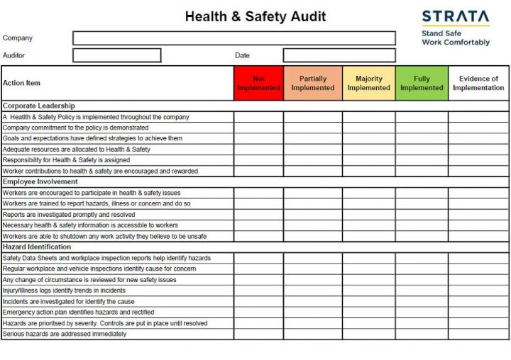 Health & Safety Audit Template